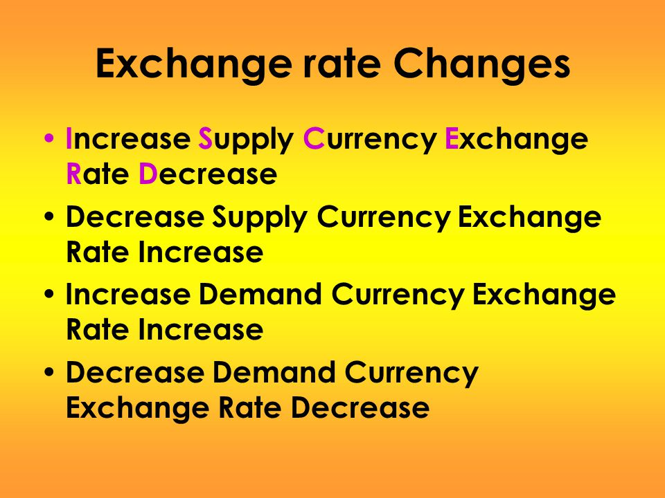 Exchange rate Changes Increase Supply Currency Exchange Rate Decrease
