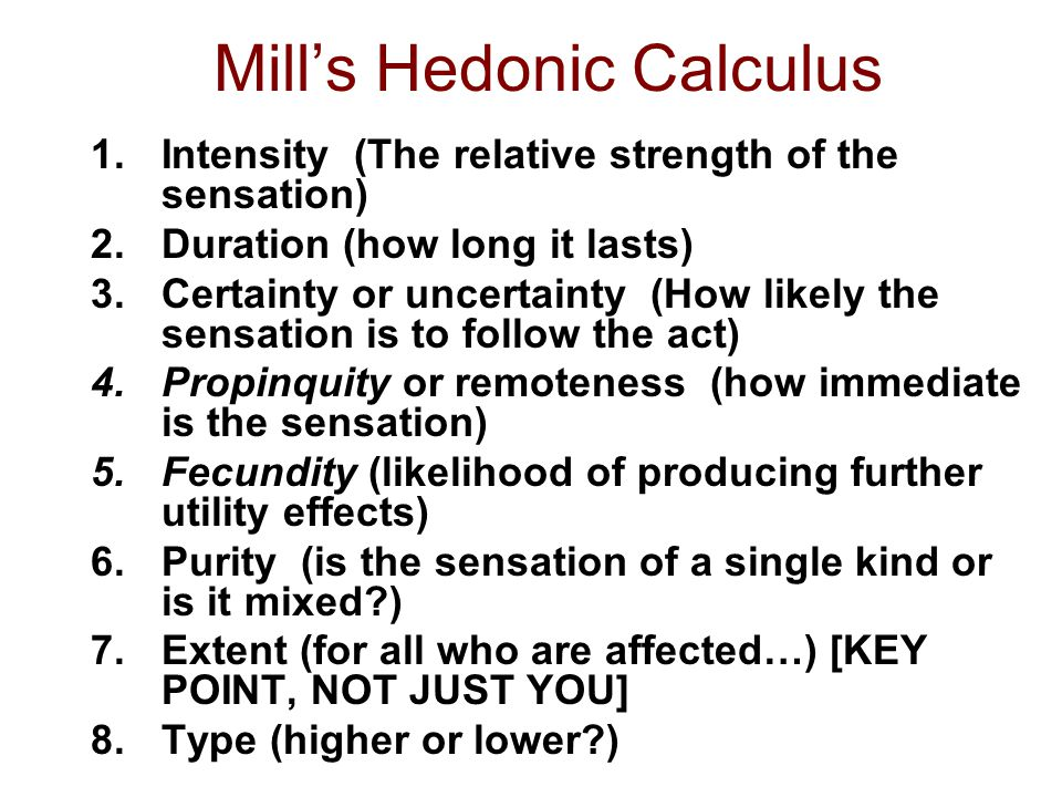 Mill's Hedonic Calculus