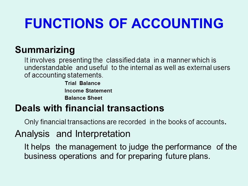 FUNCTIONS OF ACCOUNTING