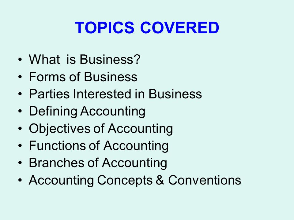 TOPICS COVERED What is Business Forms of Business