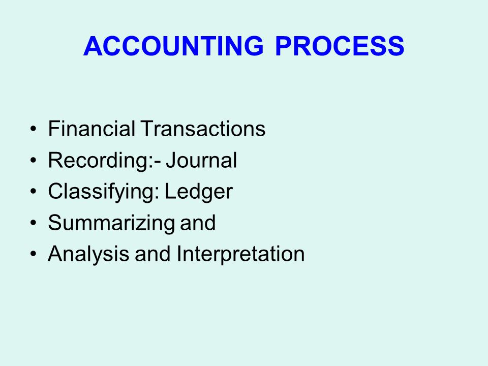 ACCOUNTING PROCESS Financial Transactions Recording:- Journal