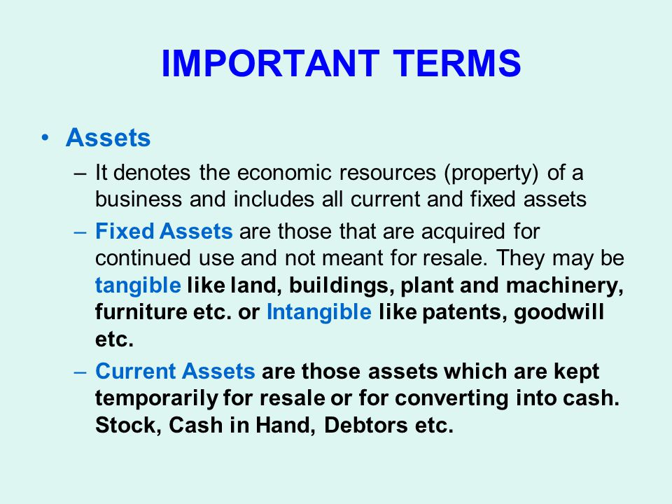 IMPORTANT TERMS Assets