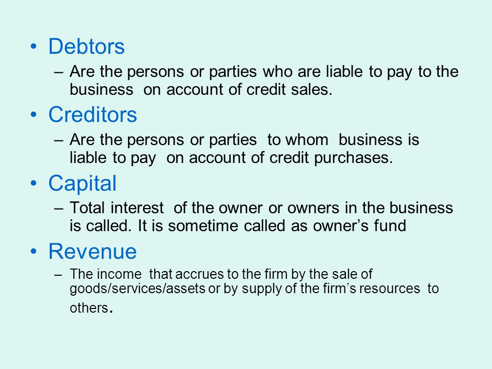 Debtors Creditors Capital Revenue