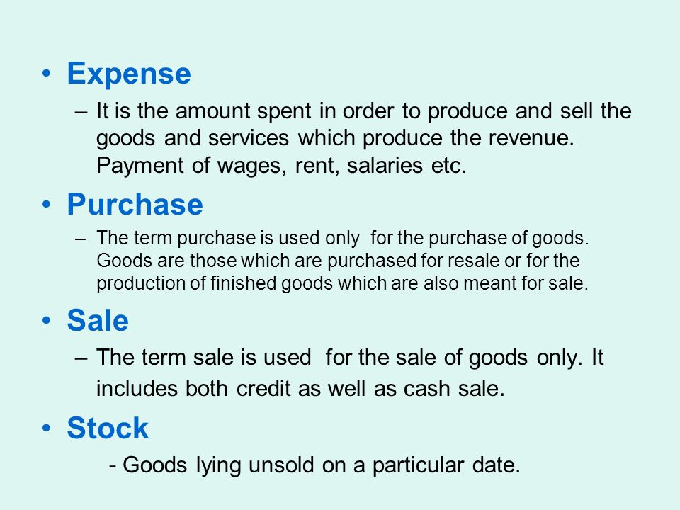 Expense Purchase Sale Stock