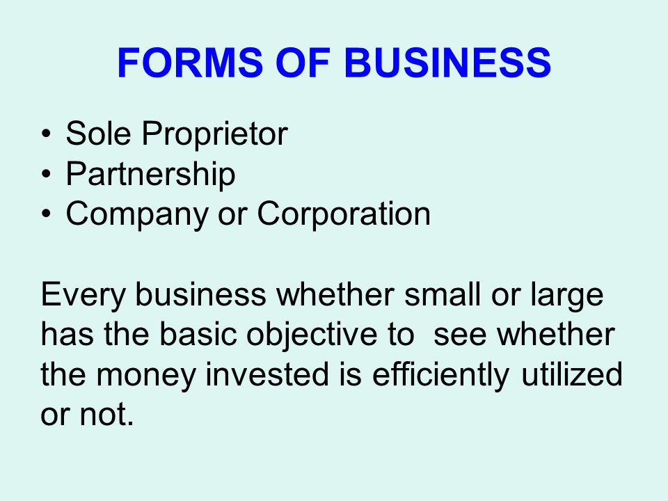 FORMS OF BUSINESS Sole Proprietor Partnership Company or Corporation