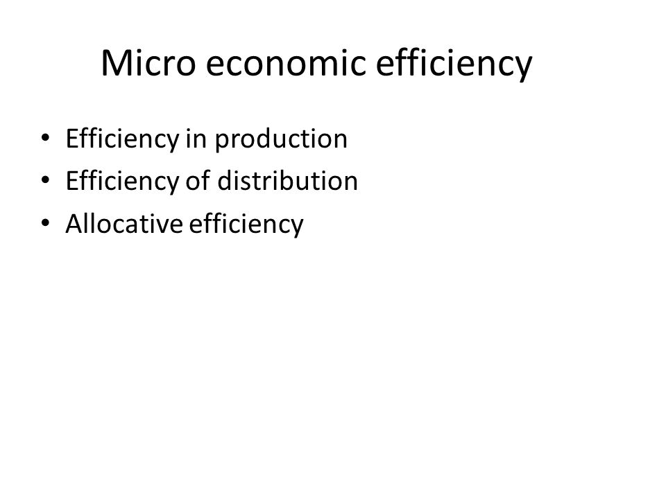 Micro economic efficiency