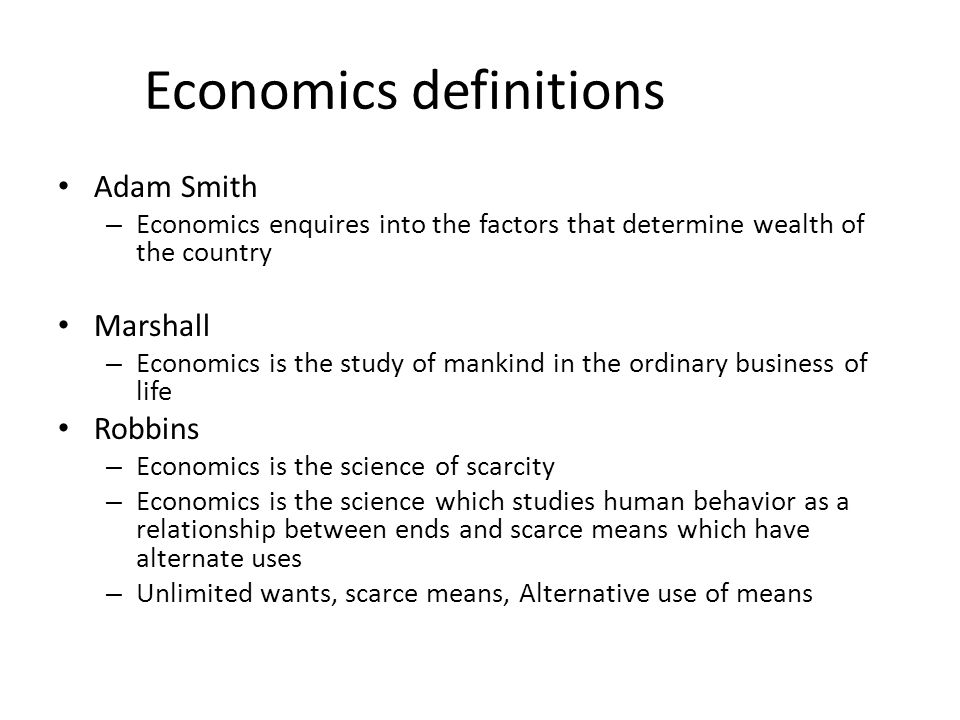 Economics definitions