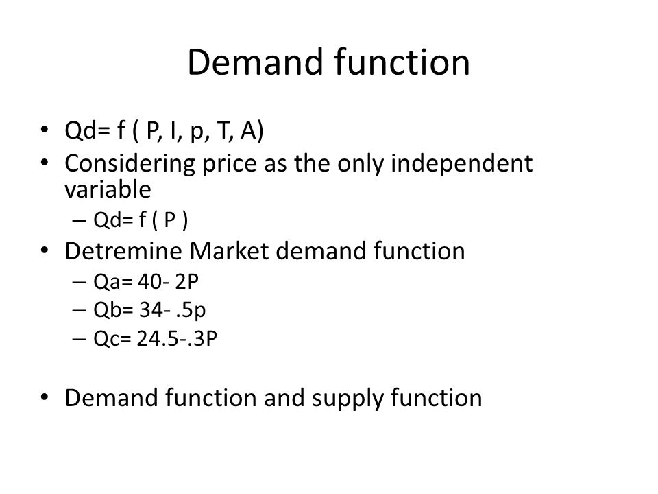 Demand function Qd= f ( P, I, p, T, A)