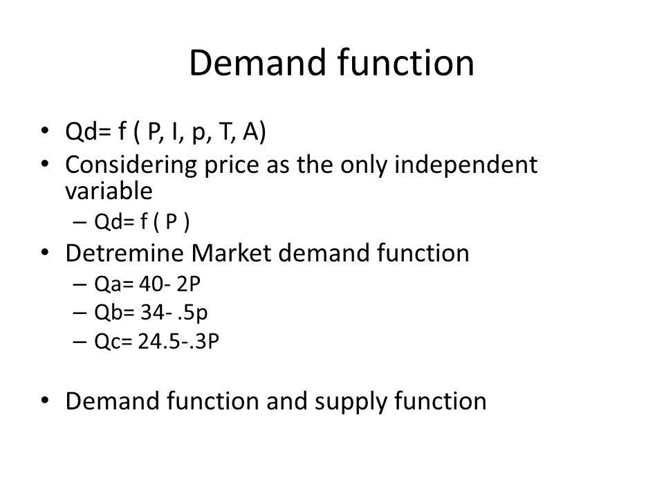Demand function Qd= f ( P, I, p, T, A)