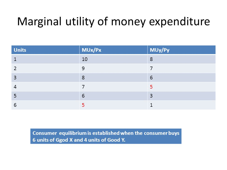 Marginal utility of money expenditure