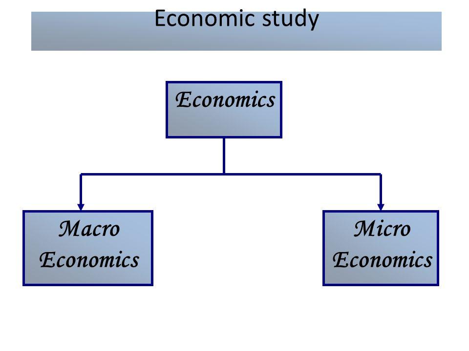 Economic study Economics Macro Economics Micro Economics