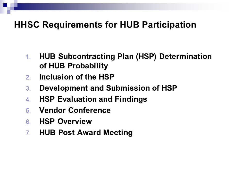HHSC Requirements for HUB Participation