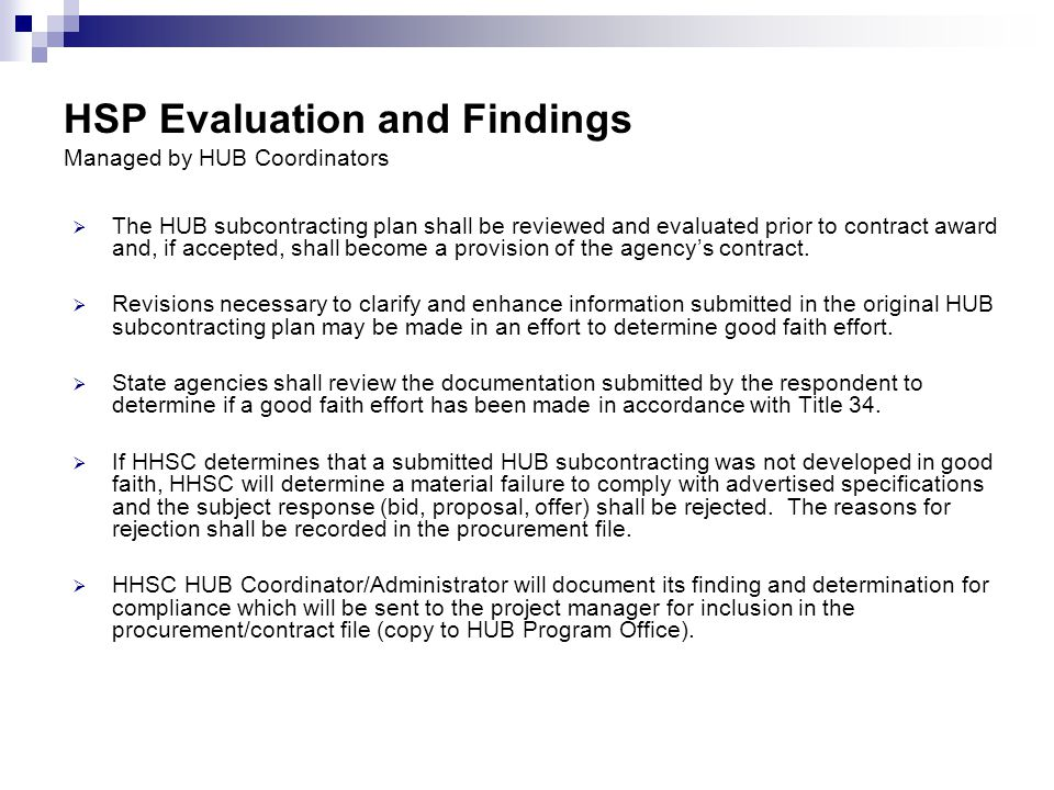 HSP Evaluation and Findings Managed by HUB Coordinators