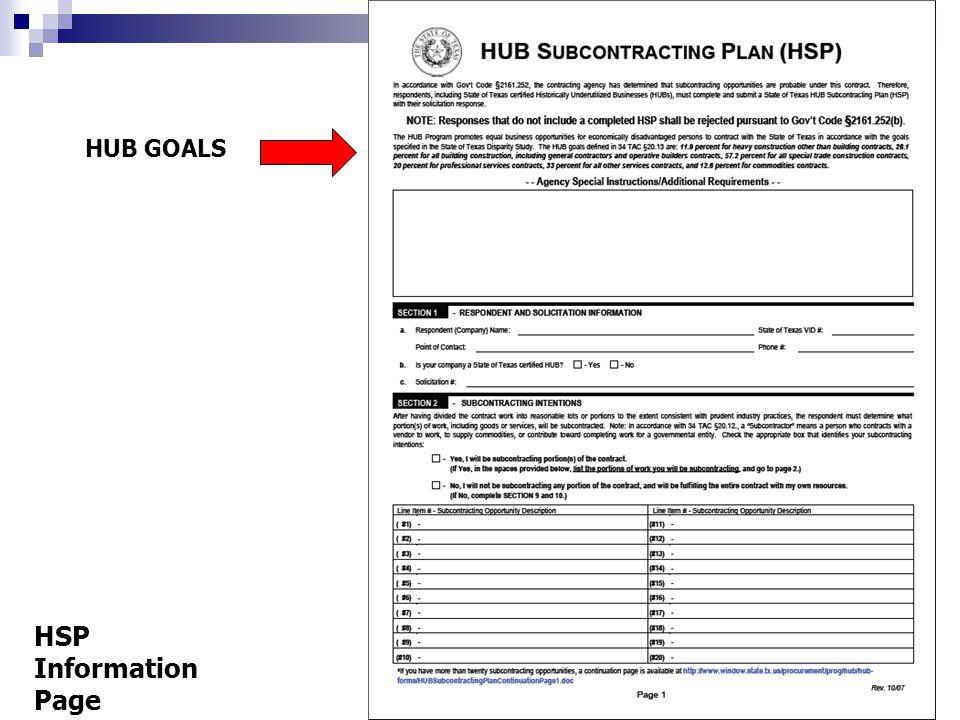 HUB GOALS HSP Information Page