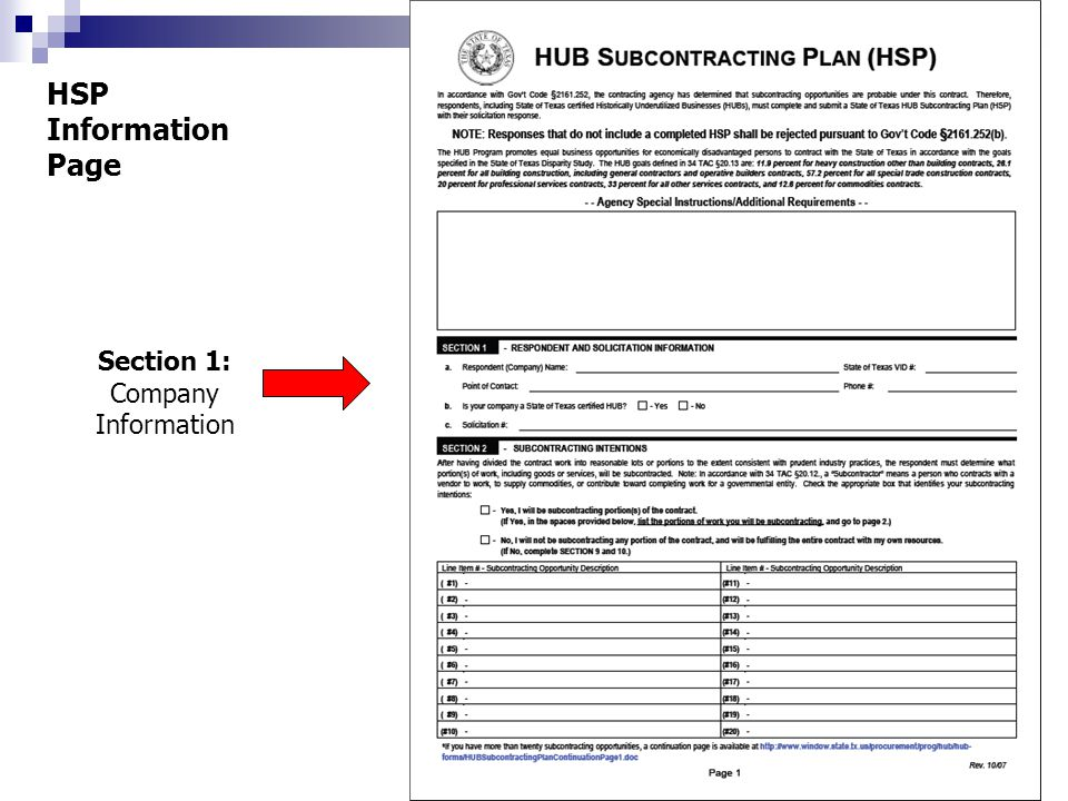 HSP Information Page Section 1: Company Information