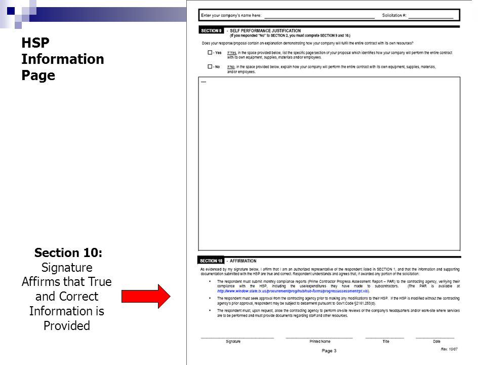 HSP Information Page Section 10: Signature Affirms that True and Correct Information is Provided