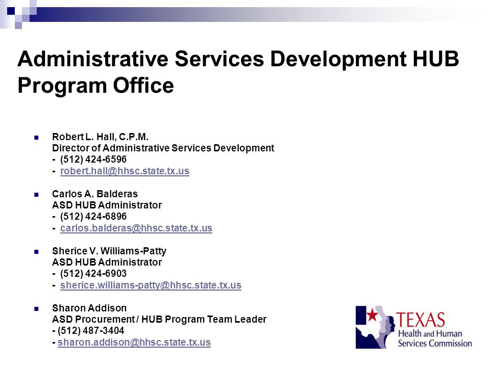 Administrative Services Development HUB Program Office