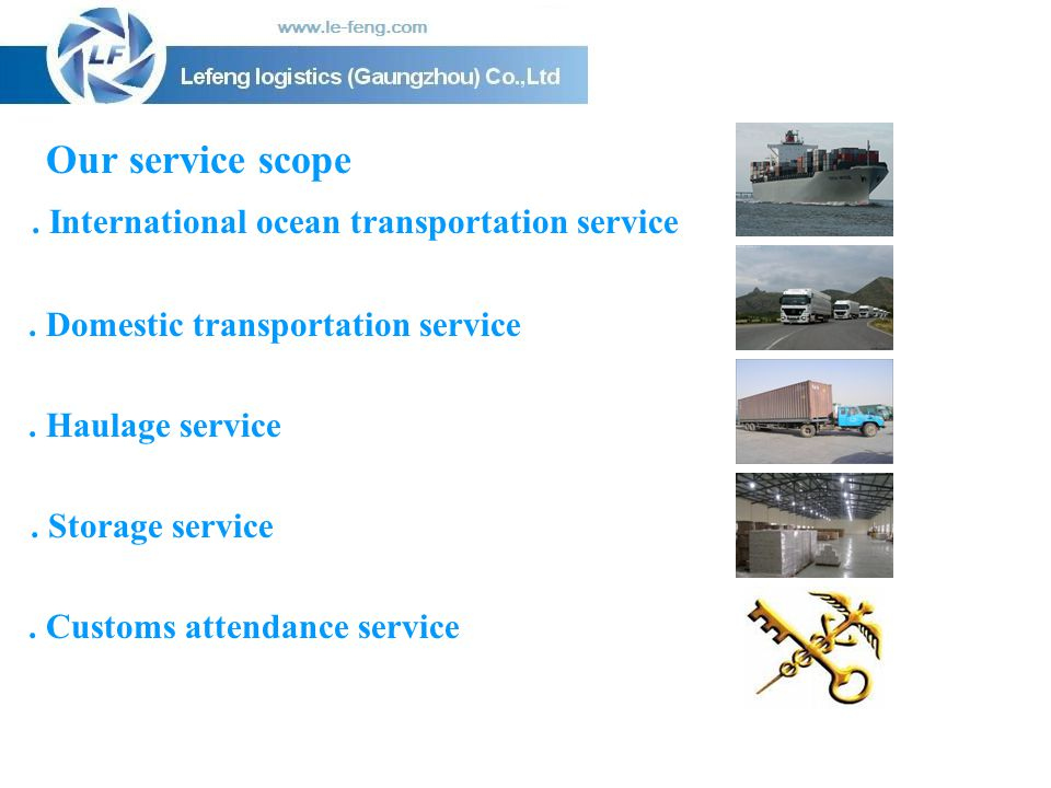 Our service scope . International ocean transportation service