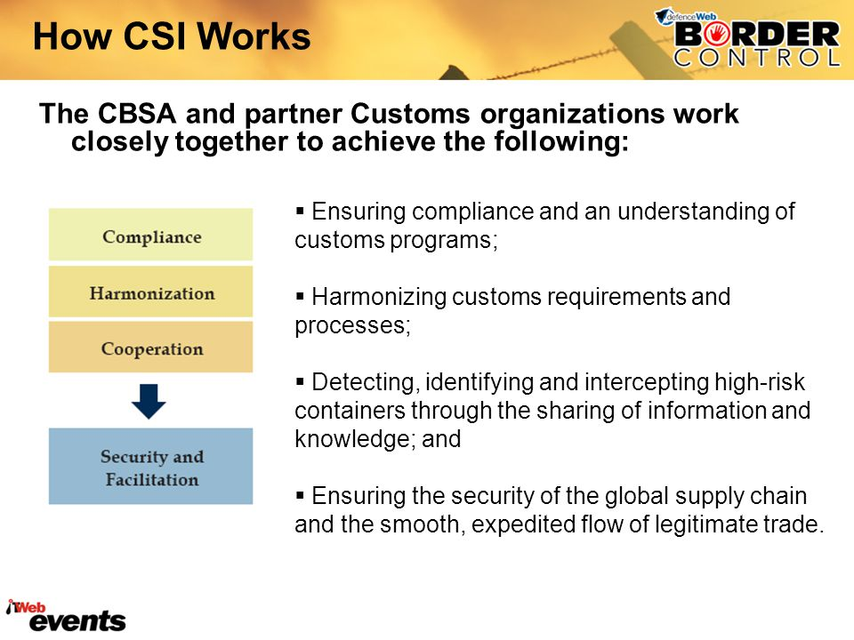 How CSI Works The CBSA and partner Customs organizations work closely together to achieve the following: