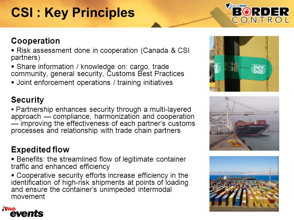 CSI : Key Principles Cooperation Security Expedited flow