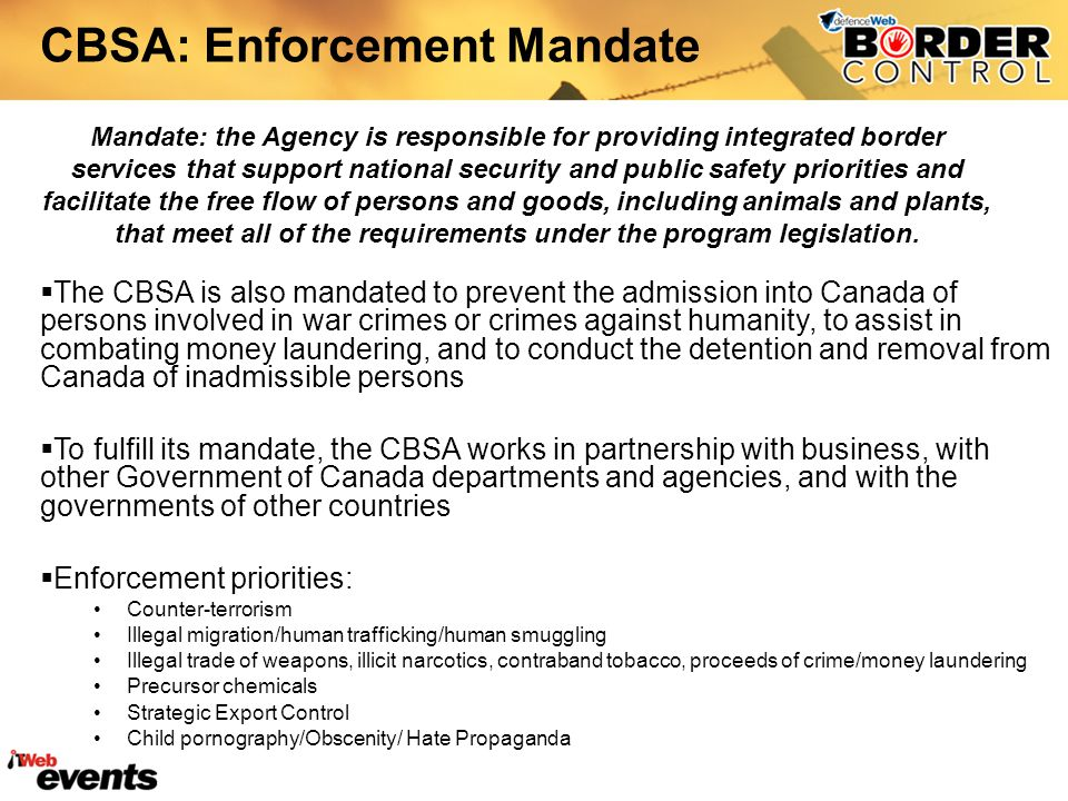 CBSA: Enforcement Mandate