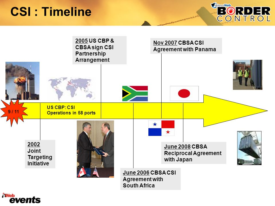 CSI : Timeline 2005 US CBP & CBSA sign CSI Partnership Arrangement