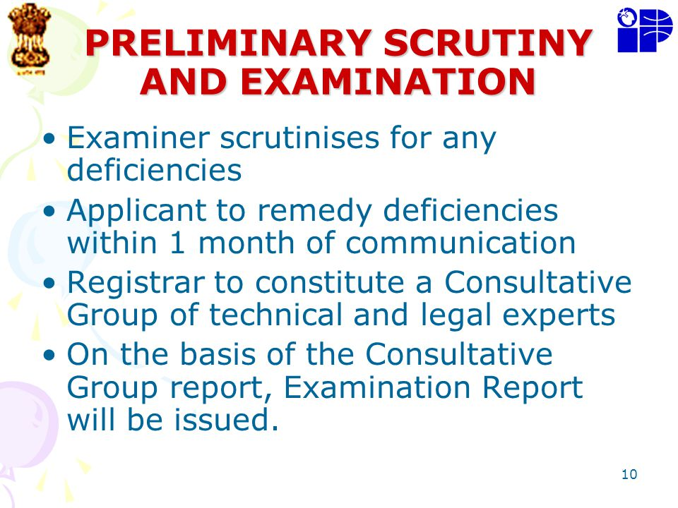 PRELIMINARY SCRUTINY AND EXAMINATION