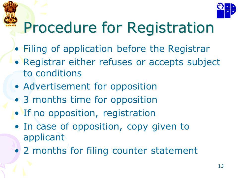 Procedure for Registration