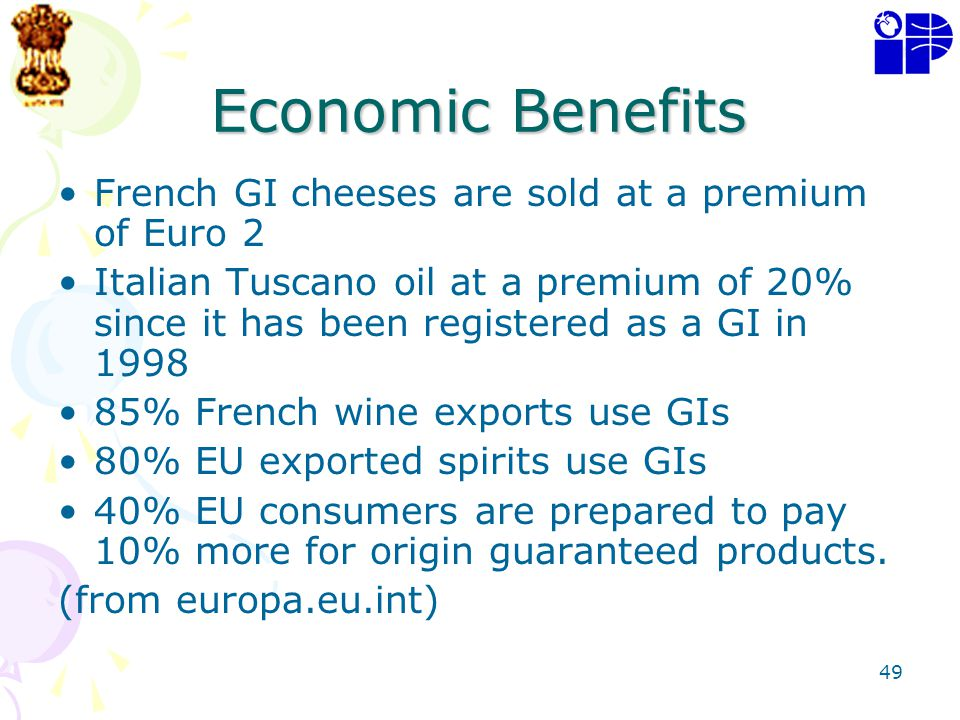 Economic Benefits French GI cheeses are sold at a premium of Euro 2