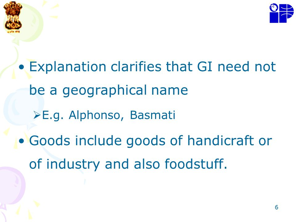 Explanation clarifies that GI need not be a geographical name