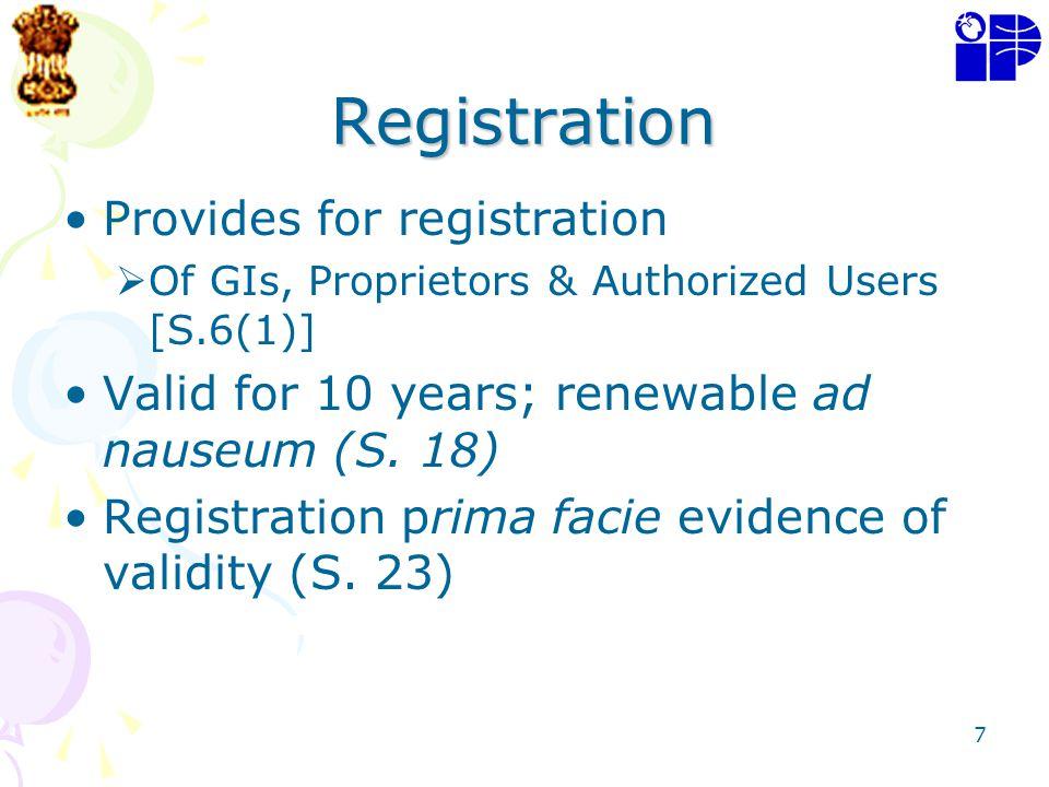 Registration Provides for registration