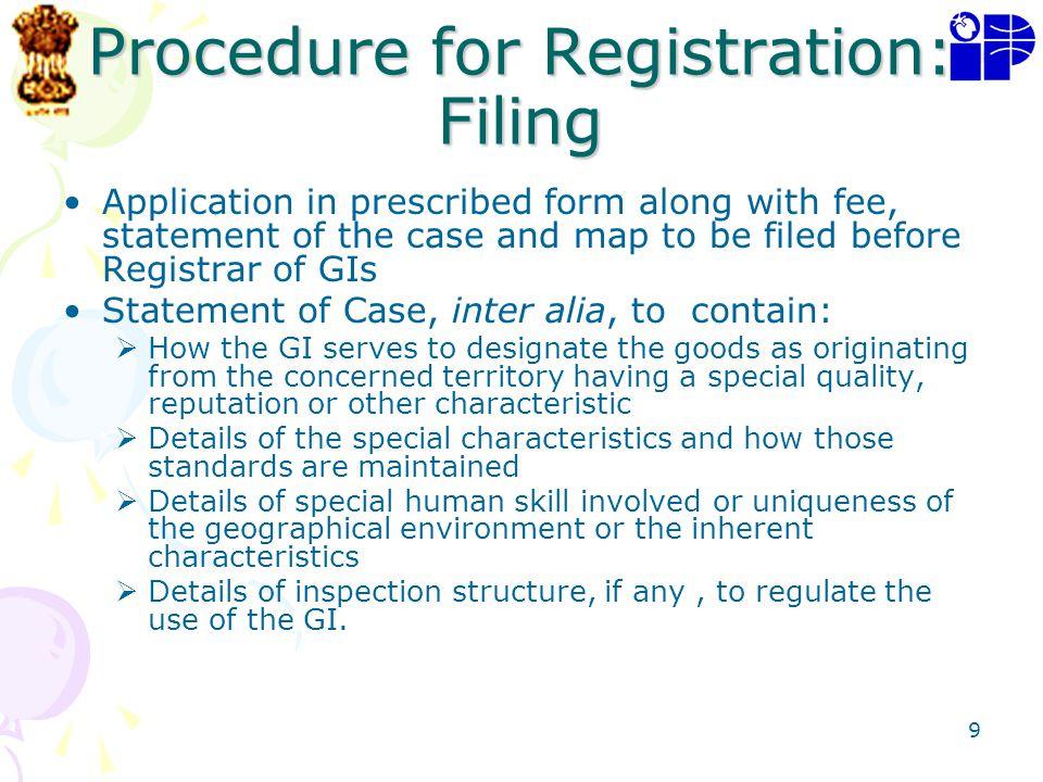Procedure for Registration: Filing