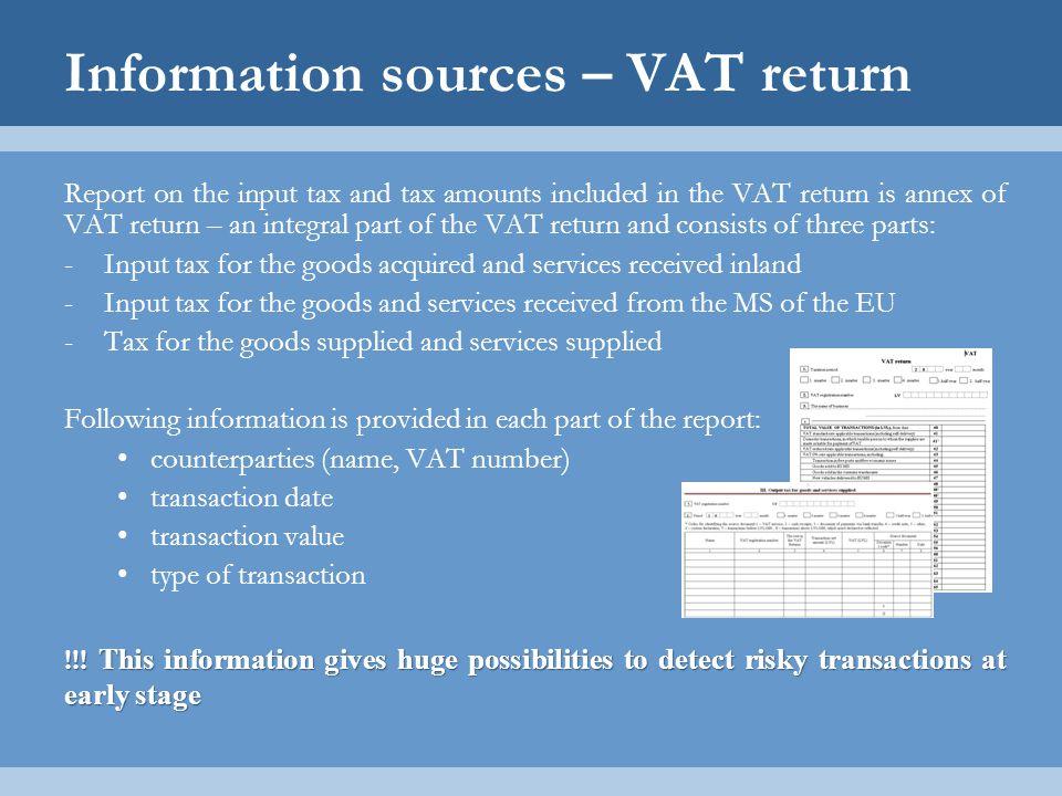 Information sources – VAT return