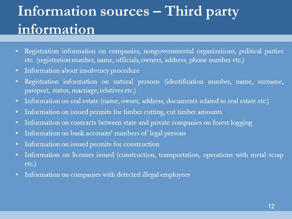 Information sources – Third party information