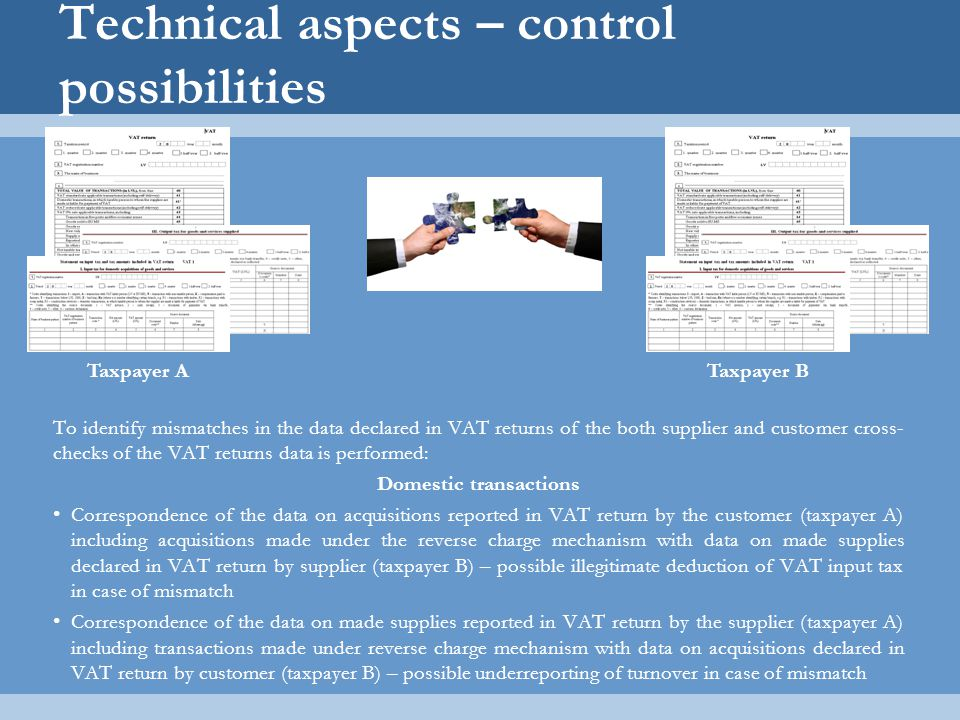 Technical aspects – control possibilities