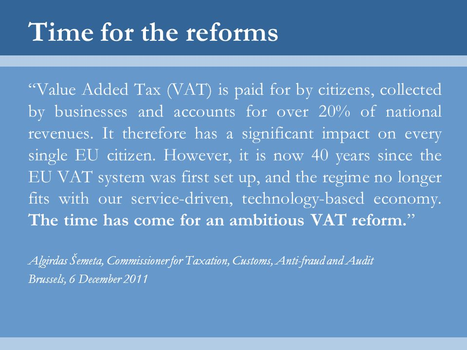 Time for the reforms