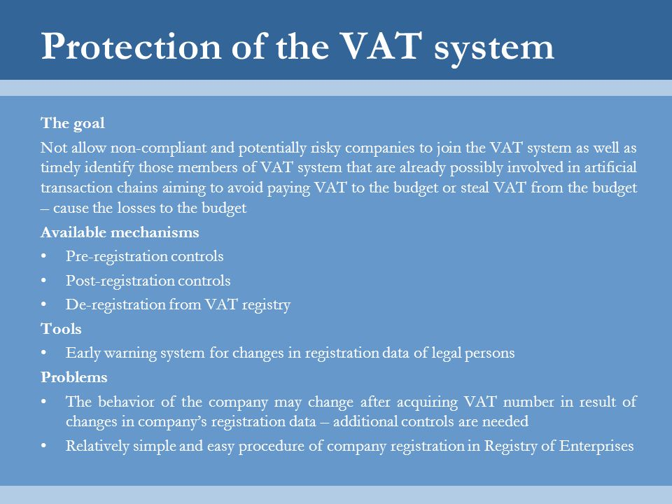 Protection of the VAT system