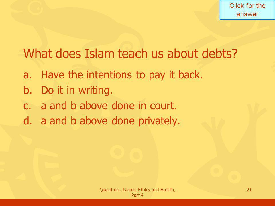 What does Islam teach us about debts