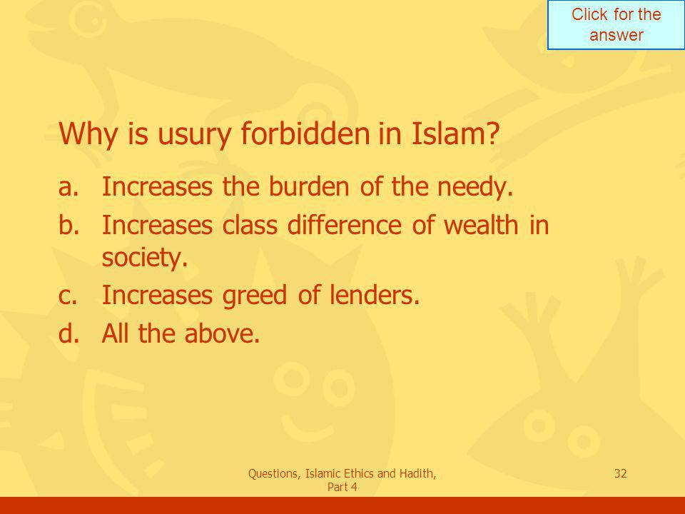 Why is usury forbidden in Islam