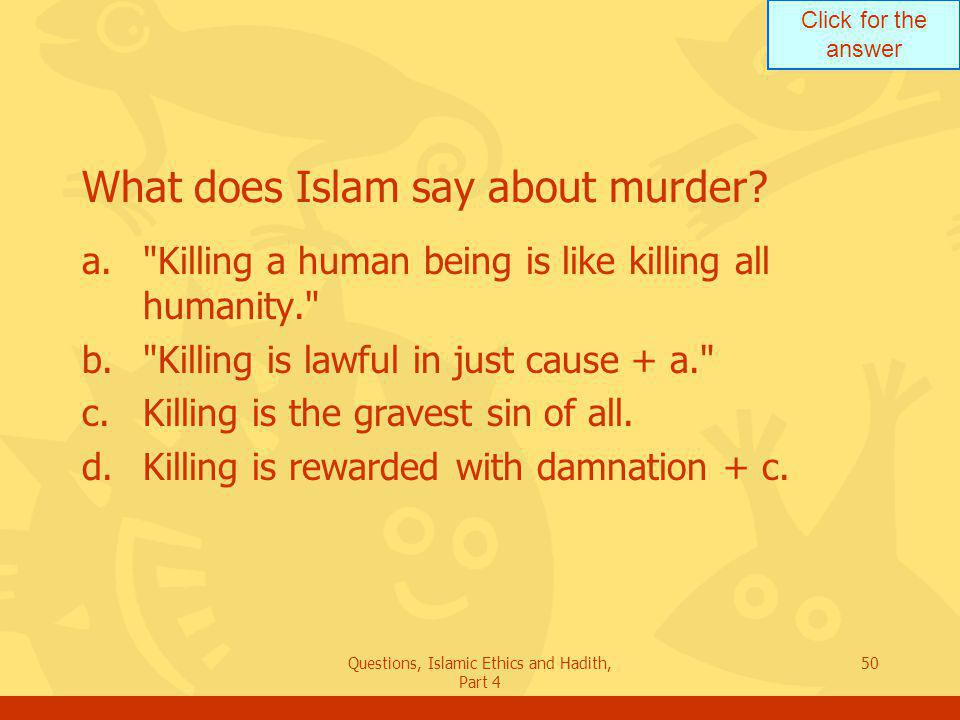 What does Islam say about murder