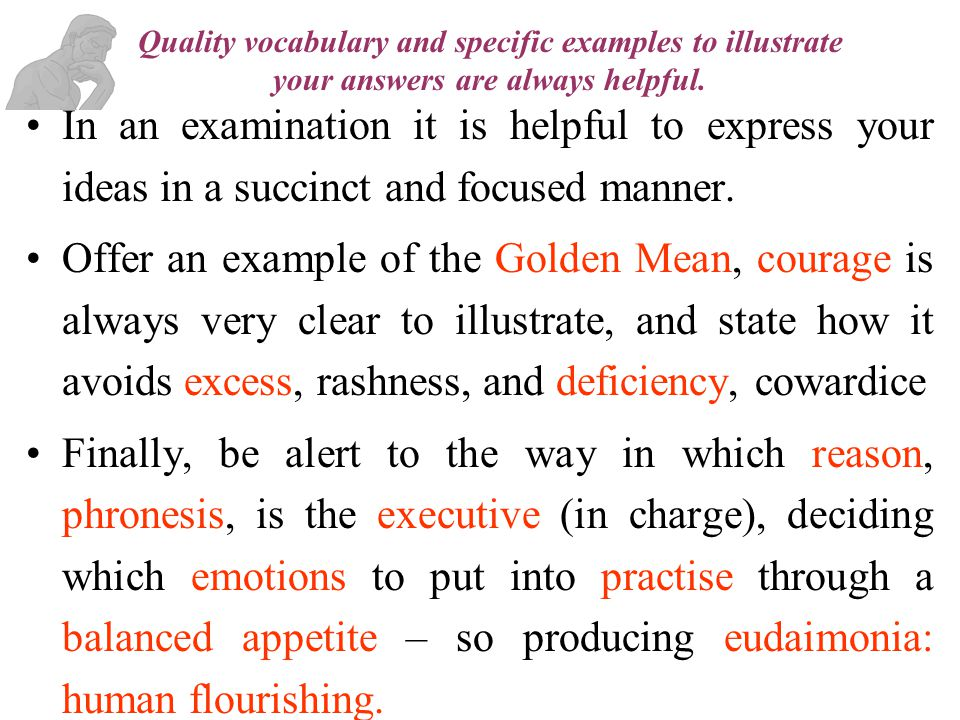 Quality vocabulary and specific examples to illustrate