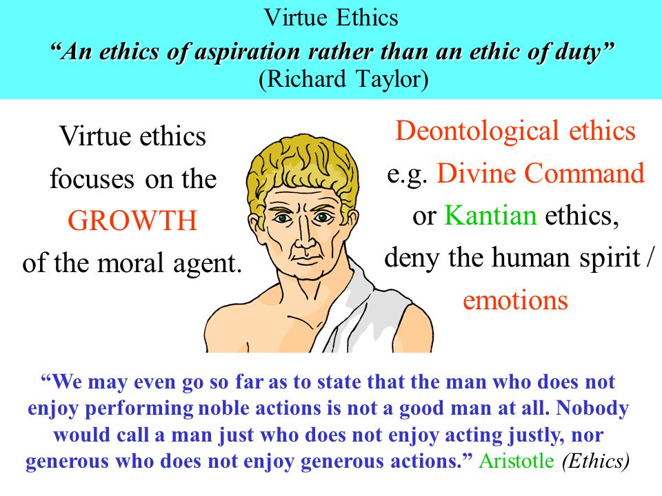 Deontological ethics e.g. Divine Command or Kantian ethics,