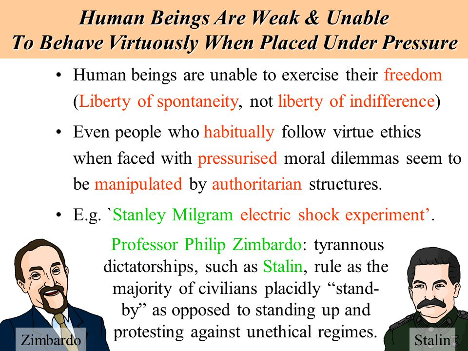 Human Beings Are Weak & Unable To Behave Virtuously When Placed Under Pressure
