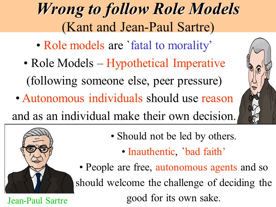 Wrong to follow Role Models (Kant and Jean-Paul Sartre)