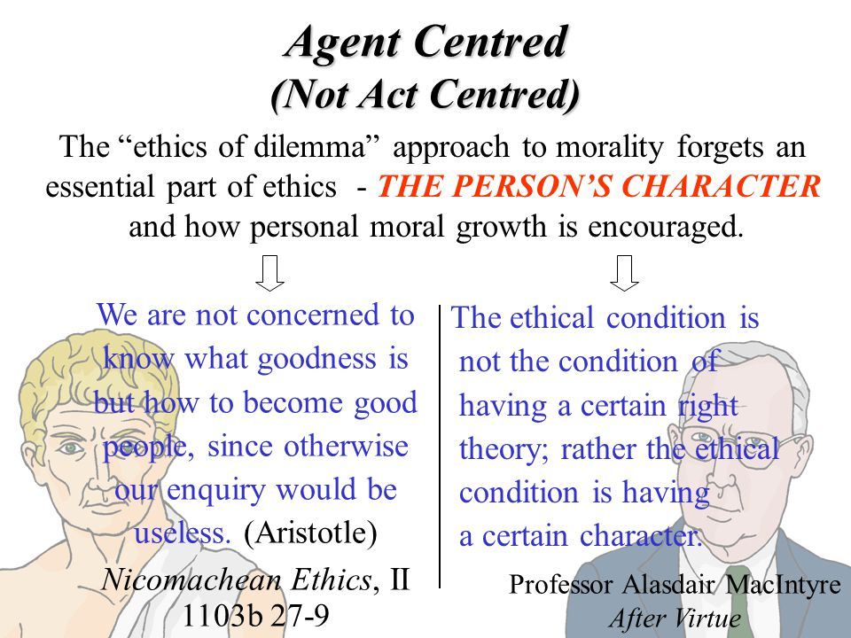 Agent Centred (Not Act Centred)