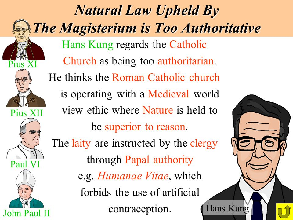 Natural Law Upheld By The Magisterium is Too Authoritative