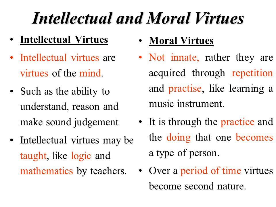 Intellectual and Moral Virtues
