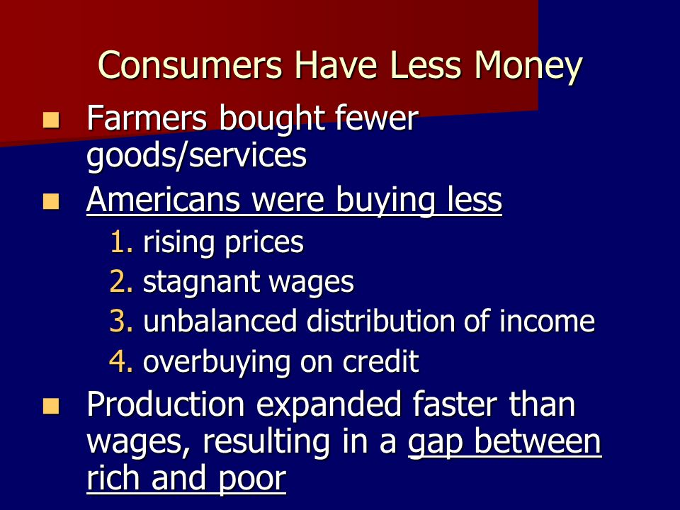 Consumers Have Less Money