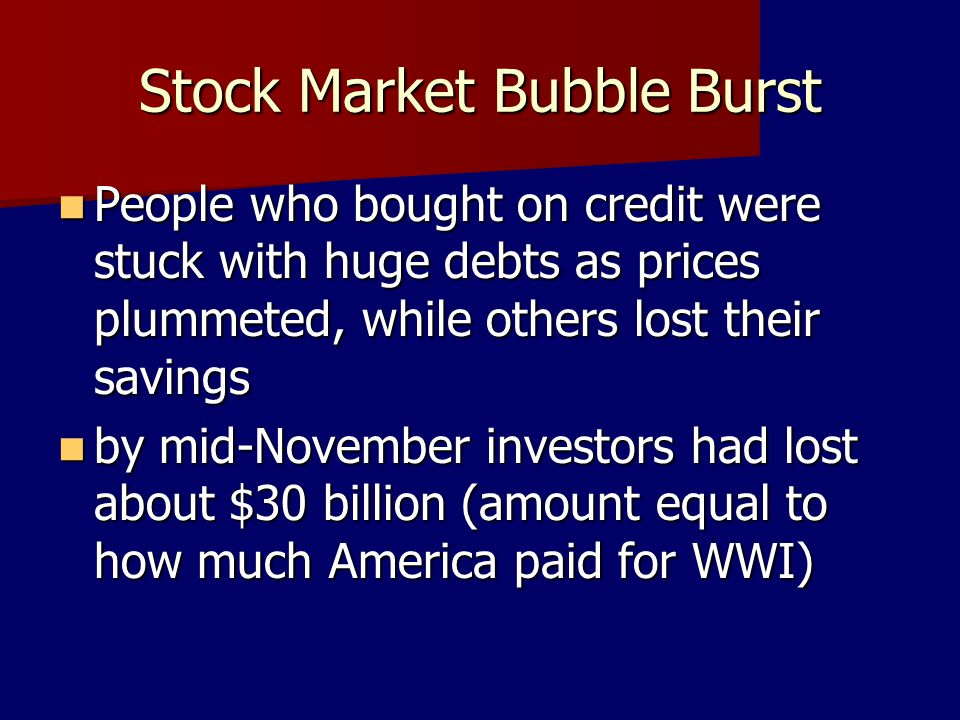 Stock Market Bubble Burst
