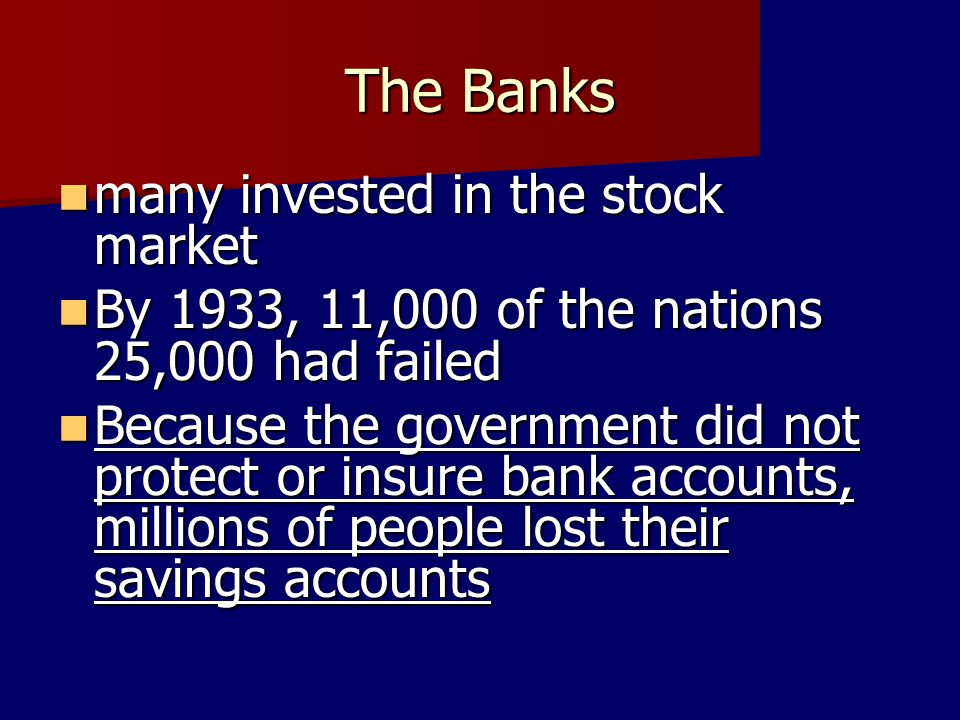 The Banks many invested in the stock market